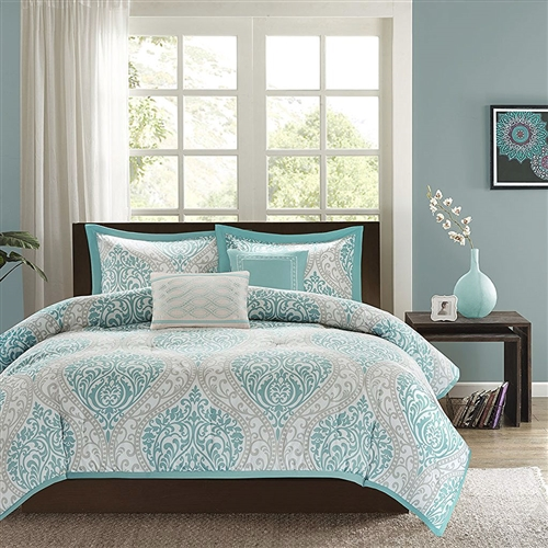 This Full / Queen size 5-Piece Damask Comforter Set in Light Blue White and Grey is the perfect way to make a fashion statement in your bedroom. The vibrant aqua and grey damask print adds a pop of color to this comforter. Two embroidered decorative pillows are included in this comforter set for a finished look.