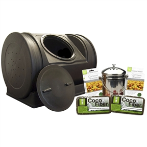 """52-Gallon Compost Bin Starter Kit - Made in USA, G52CWSK133 :  If your looking for the best way to get into composting, this 52-Gallon Compost Bin Starter Kit - Made in USA is definitely the way to go. Everything you need is included: The ever popular, Compost Wizard Jr., 1 kitchen compost pail, 2 compost fiber bricks, and (2) 16 oz Enhanced Compost Accelerator pouches. The Compost Wizard Jr. compost tumbler is designed to be simple and intuitive. No assembly, just add compost material and spin it. It's that easy, and it's fast. Because the chamber agitates the entire batch while rotating, oxygen and moisture are more evenly distributed, reducing composting time The Compost Wizard Jr. holds 7 cubic feet of compost and sits on a wheeled base. The handles provide excellent grip to make turning even easier compared to other models and crank versions. The 12"""" twist off lid keeps your compost safely closed off but is easy to remove and even doubles as an extra turning point. The ends feature aeration holes, which provide much needed airflow for the compost batch with the option of drilling more for those who live in areas with low air currents.The wheeled base allows owners to turn the bin effortlessly and can easily be separated to allow the compost bin to roll freely from place to place. The low profile ensures that it stays out of sight and won't be blown over in high winds like other compost tumblers. The resin material used to mold the compost bin is 100-Percent recycled and the rich dark color absorbs the sun's heat keeping your compost at a nice hot temperature (100-150 degrees F). It comes fully assembled and requires little maintenance. Just turn the compost tumbler once a week and after addition of new material and you can see fresh earthy compost in as little as 14 days.* Help keep organic waste out of our landfills by getting a Compost Wizard Jr. compost tumbler today. *For best results, wait for a single batch to completely compost before adding more materia"""