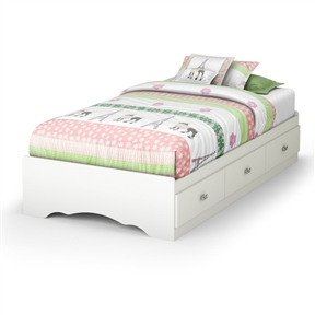 With its three drawers, this Twin size White Platform Bed Frame with 3 Storage Drawers is a great space-saving solution. Girls will love its jewel like chrome handles and decorative cut-outs. It can also be attached to the Tiara Twin 39-inch headboard for even more storage options. It is equipped with polymer glides that include dampers and catches for enhanced safety. Its weight capacity is 250-pound and no box spring is required. Bed is reversible therefore drawers can be placed on either side of the bed. The interior drawer dimensions are 22-1/2-inch wide by 17-3/4-inch front to back. It measures 76-1/4-inch long by 40-1/4-inch wide by 14-1/2-inch high. It is delivered in a box measuring 85-inch by 23-1/2-inch by 4-1/2-inch and weighs 126-pound.