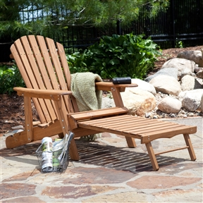 Oversized Classic Adirondack Chair with Pull-Out Ottoman in Natural, OACN66557 :  You'll feel right at home relaxing outdoors in this Oversized Classic Adirondack Chair with Pull-Out Ottoman in Natural. Large and spacious with a contoured seat and a reclined back, this oversized seat is the perfect place to lounge. It's made of wood and has an attractive natural finish to show off the grain, so it fits in naturally in almost any outdoor environment. Take a load off your feet by pulling out the built-in ottoman, which folds out from underneath the seat. Ottoman: 25 inches long; Classic fanned back and comfortable contoured seat; Surface Natural; Wood Type Kiln-dried Fir Wood.