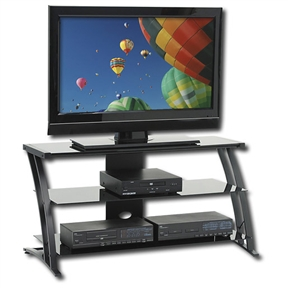 This Modern Flat Screen Panel TV Stand brings class to your living room decor. This furniture piece can hold televisions weighing 70 pounds or less with bases no larger than 39 inches. The contemporary black TV stand comes with a safety-tempered glass top for added support. It also sports shelves that allow you to keep your entertainment systems and other decorative items, creating a look your friends will truly admire. Quality Steel frame construction of the TV stand ensures long term usage. The back panel of the stand features cut outs that allow easy cord access for your entertainment systems. Floor levelers are also provided with the stand to give enhanced stability and balance.