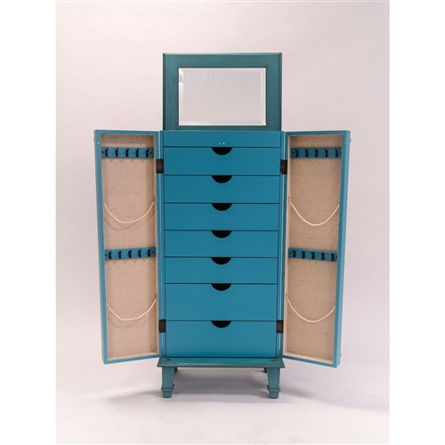 With its vintage turquoise hand painted finish, gorgeous classic details and antique hardware drawer pulls, this Vintage Turquoise Hand Painted Jewelry Armoire with Antique Drawer Pulls is the perfect addition to any home or apartment. On the top, its hinged lid lifts to reveal a convenient mirror.