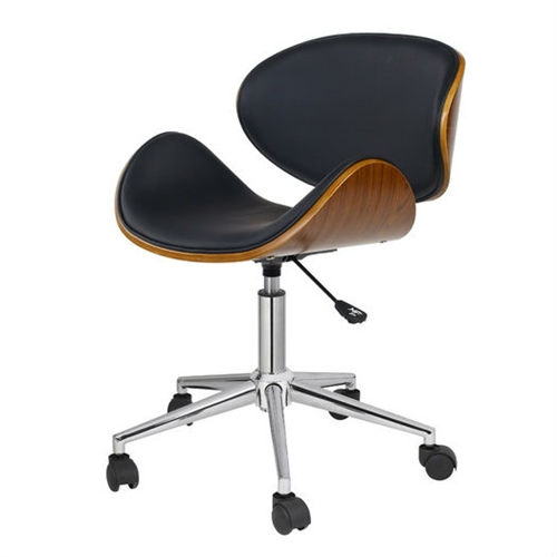 Inspire creative workflow with this Black Mid-Century Modern Classic Mid-Back Office Chair. Features include: contrasting colors, natural grains, a chrome base and a patented gas lever adjustable seat. Home office ergonomics have never been so stylish or comfortable. Swivel: Yes Ergonomic: No; Arm Finish: Natural; Hardware Finish: Chrome; Gloss Finish: Yes; Exterior Seat Material: Manufactured Wood; Exterior Seat Material Details: Bent Wood; Hardware Material: Stainless steel; Rust Resistant: Yes; Back Height: Mid-back; Back Type: Cushioned. Adjustable Height: Yes; Tilt Control: No; Lumbar Support: No; Hooded Casters: Yes; Double Wheel Casters: Yes; Compatible Flooring: Tile; Carpet; Hardwood; Concrete; Linoleum; Leg Type: Five-point rolling.