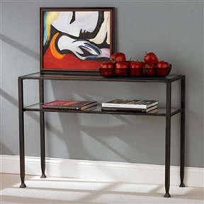 Black Metal Console Sofa Table with Glass Top and Shelves, BMST126841 :  Keep your room's contemporary cool with this Black Metal Console Sofa Table with Glass Top and Shelves. The table features glass surfaces and black-finished metal frames to add a touch of elegance to match most any decorative scheme. This particular sofa table features one shelf about 10 inches below the top for a shadowbox effect that allows you creative freedom for decorating or just an extra spot to store your keys. Versatile distressed black finish; Lower shelf for storage or display.