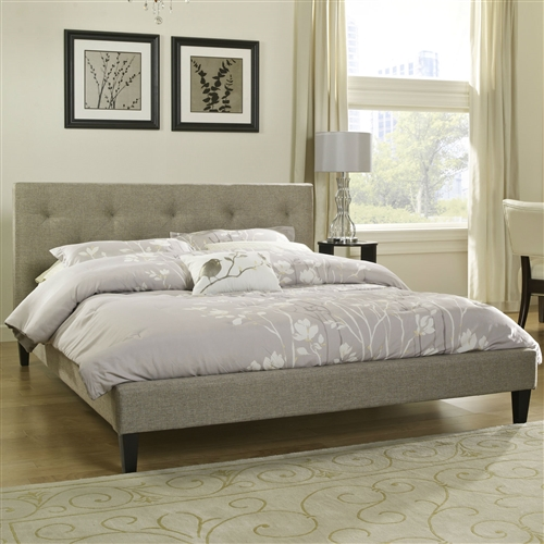 This Twin size Modern Classic Upholstered Platform Bed with Tufted Headboard in Tan Beige features a tufted headboard, footboard and side rails. The neutral upholstery makes it the perfect blank canvas to use in any bedroom. Headboard Included: Yes; Box Spring Required: No; Footboard Included: Yes; Footboard Storage: No; Trundle Bed Included: No; Weight Capacity: 1200 Pounds; Country of Manufacture: China.