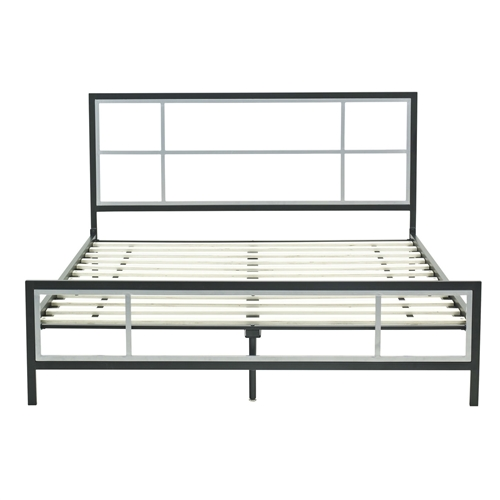 This Full-size Modern Metal Platform Bed Fame with Headboard Footboard and Wood Slats features a simple design on the headboard and footboard, yet creates a bold statement in any room. The combination of shiny 2 tone black and silver draws attention. Easy to assemble and disassemble, creating an easy and inviting place to rest in any room. Headboard Included: Yes; Box Spring Required: No; Slats Required; Slats Required: Yes; Slats Included: Yes. Country of Manufacture: China