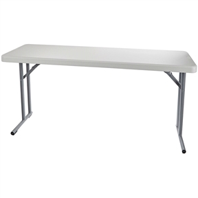 "This Steel Frame Rectangular Folding Table with Speckled Gray Top has a speckled gray, 60"" long, 2"" thick, UV protected, blow molded plastic table top, a steel frame that can support 700 lb. of evenly distributed weight, cantilevered legs, and folds for compact storage when not in use. This 18"" size table is typically used for seminars or training sessions. The blow molded plastic top has a better strength-to-weight ratio than solid plastic or wood tables, is UV protected to withstand sunlight during outdoor use, and can withstand heat up to 212 degrees F so it won't be damaged by hot plates or coffee cups. The surface is lightly textured to increase scratch resistance, but is still smooth enough to write on. The gray steel legs are cantilevered and connected 11"" from the table edge to provide leg room, and are powder coated for corrosion resistance. When the legs are opened, snap locks engage automatically to keep them opened, releasing with a push button for folding. When folded, the legs nest flush into indentations in the bottom of the table, making a flat surface suitable for stacking multiple tables for compact storage. Plastic glides on the feet help protect floor surfaces."
