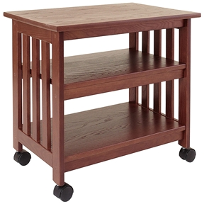 This Mission Style Wooden TV / Printer Stand Cart in Chestnut Finish is designed to hold a TV in the family room or use as a printer stand in the home office. Dust as needed with soft cloth. Clean with damp cloth and mild solution of dish soap. Polish with soft cloth and polish that contains no pigment or silicone. Product Type: Mobile; Number of Casters: 4; Shelf Weight Capacity: 100lbs.; Weight Capacity: 150lbs. Commercial Use: Yes; Eco-Friendly: Yes; Country of Manufacture: United States.