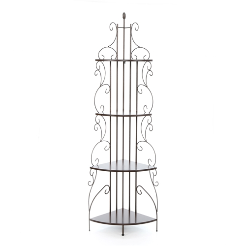 Illuminate a dull corner of your room by bringing home this Ornate 4-Tier Metal Corner Bakers Rack Kitchen Dining Shelf. An ornate piece of accent, this shelf is sure to add oodles of charm to any space. Beautifully-detailed, this shelf is the perfect piece to spruce up a pale area. Place it any corner of your room and witness the magic it creates for your decor. The Ornate 4-Tier Metal Corner Bakers Rack Kitchen Dining Shelf is made entirely out of metal for a strong and sturdy body. It sports a golden copper finish, which lends a royal touch to this piece. A beauty in itself, this shelf can be enhanced further by loading it with intricate artwork or vintage decor pieces. Offering four shelves, this étagère shelf has sensuous curves and bold detailing. You can choose to keep rustic decor items or classic souvenirs on the shelves to impart a hint of antiquity to it. Living space, bedroom, guest room or entryway, keep this étagère anywhere to spontaneously jazz up the space. It occupies very little floor area and does not prove to be a hindrance in the room. The Ornate 4-Tier Metal Corner Bakers Rack Kitchen Dining Shelf is easy to assemble and is low maintenance. It requires occasional dusting to prevent dust buildup.