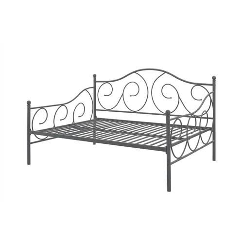 The Full size Metal Daybed Frame Contemporary Design Day Bed in Bronze Finish. Whether you are looking for extra seating in the living room or a sleeper for overnight guests, the metal daybed is the perfect fit. With round finial posts, a brushed metal frame, and traditional scrollwork, this daybed has character that will add instant charm to any room. Sturdily constructed, the bed features metal slats and supporting legs for added support and comfort. Additional foundation is not required. This full-size daybed sleeps two comfortably.
