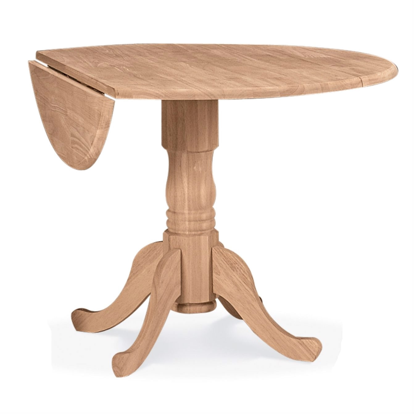 For a classic and stylish piece of furniture that's not too overbearing or pretentious, look no further than International Concepts; they have it all. The Unfinished Round 42-inch Dual Drop Leaf Dining Table is quite possibly the perfect table. Fit for two, its dual drop leaf allows you can make it smaller to suit day to day space needs, and then open it up when you need a bit more space for tea. It's round shape ensures that no one will ever be left out of a conversation and its elegant base is sure to add a graceful touch to your home. with drop leaf lowered - Floor to drop leaf 20''; with both drop leaves down 24'' x 42''; with one drop leaf up 42'' x 33''; with both leaves up 42'' x 42''; Constructed from parawood; White / natural finish.