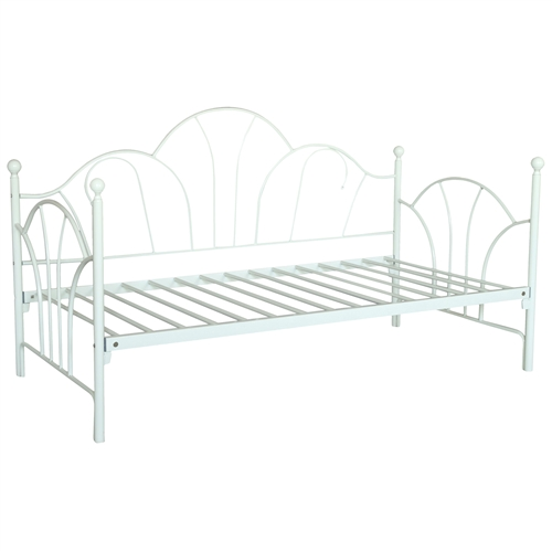 This Twin size Kids Girls Bedroom Bed Frame Contemporary White Metal Daybed is a beautifully crafted with a sturdy frame. Box spring not required. Mattress sold separately. Fits twin size mattress; Style: Contemporary ; Frame Material: Metal; Mattress Included: No; Daybed Weight Capacity: 300 Pounds; Distressed: No; Hardware Material: Brass; Country of Manufacture: China.
