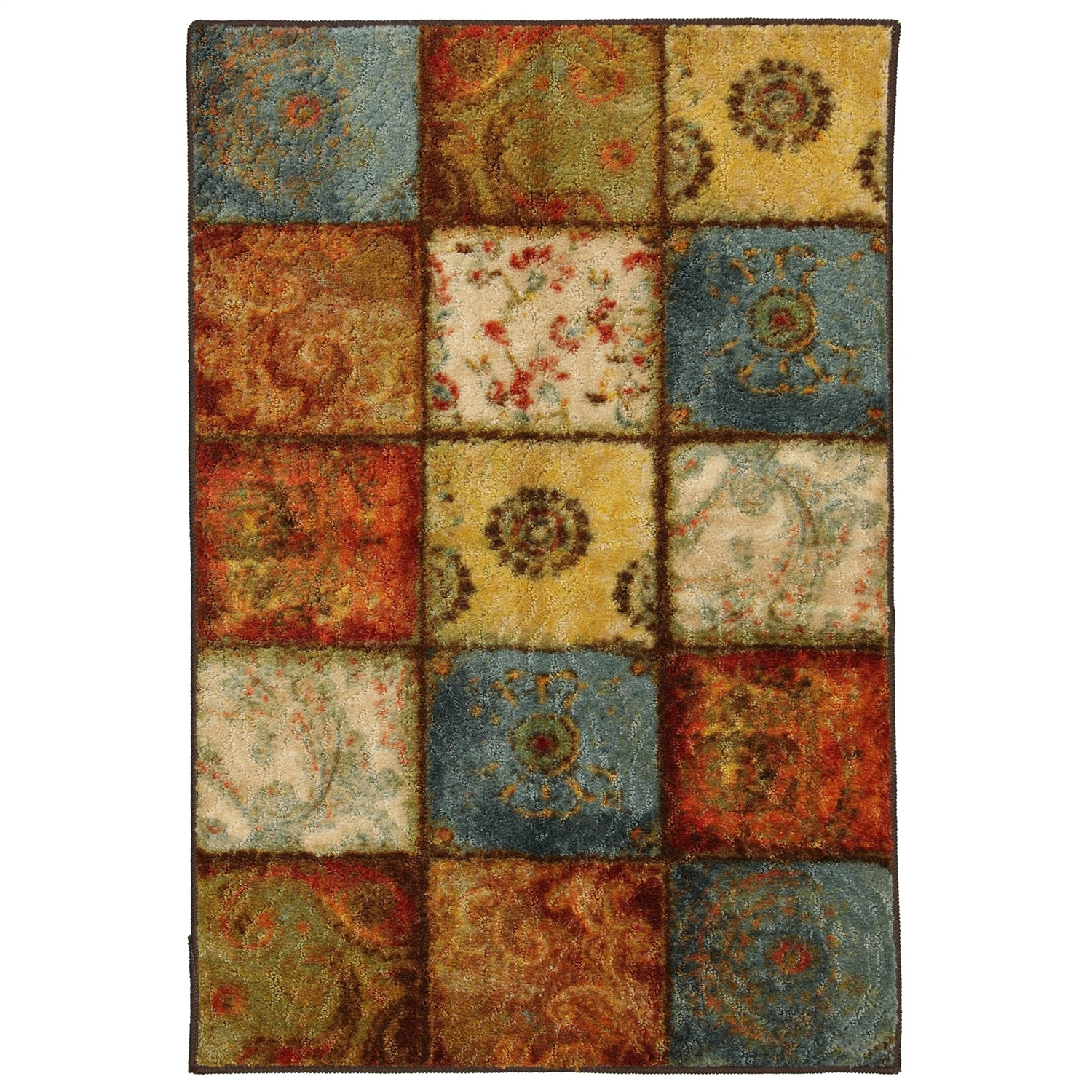 20-in x 34-in Multi-Color Patchwork Pattern Rug - Made in USA, MHAR2356 :  This 20-in x 34-in Multi-Color Patchwork Pattern Rug - Made in USA is a unique blend of traditional and modern designs. Its transitional patchwork pattern and a rich rusty color palette mingle well in any traditional and contemporary set up. This durable and vibrant carpet is ideal for any room in your home. As it can resist mildew and repel water, this rug is suitable for both indoor and outdoor use. This rustic-looking rug is made from nylon for durability and freedom from stains. A machine make gives this rug a consistent design and color. This rug is stain and fade resistant so it looks new for years. Furthermore, a multi-colored serge border surrounding the design gives your rug a neat look. A latex backing prevents the rug from slipping. However, it should be used with a rug pad to avoid damage to your flooring. An extra pad will also increase the lifespan of your rug. You can machine wash this nylon rug in cold water using mild detergent. Don't forget to tumble dry it on low setting. Even non-chlorine bleach can be used while washing this rug. This rug is made in the USA. It is CRI certified and has a 1 year warranty against all manufacturing defects. Available in different sizes, you can pick this rug as per your styling requirements. Product Care: Machine wash separately in cold water using mild detergent. Use non-chlorine bleach when needed. Tumble dry on low setting.