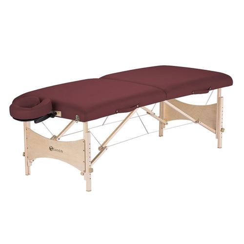 "This Burgundy Portable Massage Table with Adjustable Headrest and Carry Case is an eco-friendly yet economically priced full size table. It is crafted from high quality hard Maple from managed forests and finished with earth-friendly, water-based lacquer and glues. Layered with our lighweight yet responsive CFC-Free 2 1/2"" cushioning system and wrapped in 100% PU Nature's Touch upholstery adds comfort, durability and style."