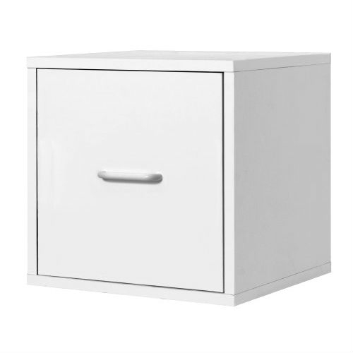This 1-Drawer Modular File Cube Storage Cabinet in White is practical and functional. Perfect for the home office. Holds letter size hanging files. Easy sliding drawer. Overall size 15-inch W by 15-inch D by 15-inch H. Frame is made out of solid wood, each panel finished with PVC laminate. Sturdy and stackable for maximum durability. Holds up to 200-pounds per assembled unit. Hollow-core construction makes the cube weigh 50-percent less then traditional particle board. Packed pre-finished, easy assembly and installation. Unlimited combination options so you can create exactly the system you need. Packed pre-finished, easy assembly and installation.