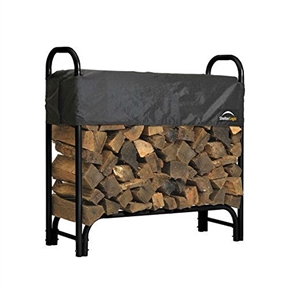 Outdoor Firewood Rack 4-Ft Steel Frame Wood Log Storage with Cover, SLBCFR45235 :  Keep your firewood neatly stored and ready to use year round with this Outdoor Firewood Rack 4-Ft Steel Frame Wood Log Storage with Cover. It keeps wood off of the ground to prevent bugs, mold growth, and rotting, and its open-air design delivers excellent ventilation--perfect for seasoning firewood. The waterproof cover adjusts to fit split wood up to 24 inches long, and it slides up and down to fit height of wood stack. Easy to assemble, it offers an all steel frame construction with a stylish black powder coat finish. It comes in multiple sizes to fit your needs. Holds 1/4 cord of wood; Keeps firewood off of the ground, eliminating bugs, mold growth and wood rot.