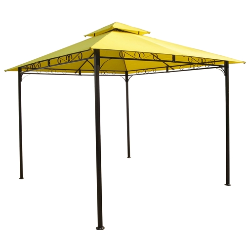 10-Ft x 10-Ft Yellow Canopy with Sturdy Powder-coated Outdoor Iron Frame, VYTGC5148411 :  This 10-Ft x 10-Ft Yellow Canopy with Sturdy Powder-coated Outdoor Iron Frame would be a great addition to your home. It has a all weather and water resistant iron frame and canopy. Constructed with a durably and stylish black powdercoated outdoor iron frame; All weather and water resistant iron frame and canopy; UV light fading protection against harsh outdoor sunlight; Comes in a variety of unique and fun colors to choose from; This stylish canopy measures 102 High, 116 Wide, and 116 Deep; Perfect for gardens, picnic events, and pool side gatherings; Color: Yellow; Frame Material: Iron; Cover Material: Fabric; Weather Resistant: Yes; Frame Included: Yes; Product Type: Event; Canopy Shape: Square; Frame Finish: Black; Foldable: Yes; Country of Manufacture: China; Assembly Required: Yes.