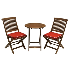 "3-Piece Outdoor Patio Furniture Bistro Set with Red Seat Cushions, OE16951458 :  Enjoy relaxing on your 3-Piece Outdoor Patio Furniture Bistro Set with Red Seat Cushions immediately when this fully assembled 3 piece set arrives. This stylish and affordable set offers a long lasting enjoyment. Included is one round table (25""), two chairs and two cushions. Sturdy and sleek makes this combo a perfect addition to any patio or yard. The Outdoor Interiors Eucalyptus 3-piece bistro furniture set is ready for immediate use as it comes fully assembled; Made from dense and durable Eucalyptus; Sturdy and sleek makes this combo a perfect addition to any patio or yard."