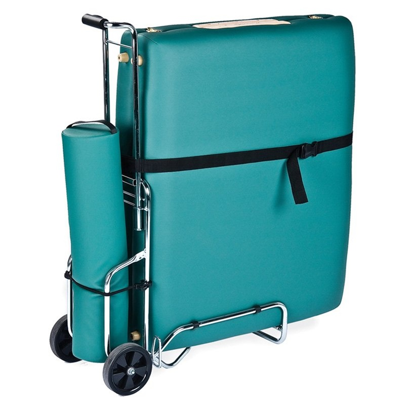 Save your strength and muscles for delivering your next massage by transporting your table and supplies in the Earthlite Massage Table Cart. You can easily roll your table along in this sturdy cart, which works just like a luggage cart. Entire frame folds up for simple transportation and storage; Manufacturer's warranty included - see Product Guarantee area for complete details.