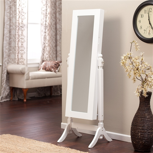 Full Length Tilting Cheval Mirror Jewelry Armoire Cabinet in Gloss White Wood Finish, HJAW1859681815 : Keep all your family jewelry organized in this Full Length Tilting Cheval Mirror Jewelry Armoire Cabinet in Gloss White Wood Finish. This elegant piece of furniture is a must have for anyone with limited bedroom space. It is made of high quality birch wood and MDF, and it has a classic white finish. On the outside it has a full-length mirror almost 6-feet tall. Open the swinging door inside you will find spots for all your precious belongings, including necklace hooks, earring slots, and ring cushions. Necklace hooks, earring slots, and ring cushions; Pocket shelves store bracelets, watches, brooches, and more; Material Birch wood and MDF Style Traditional, Transitional.
