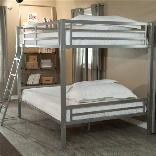 Full over Full size Bunk Bed with Ladder in Silver Metal Finish: Product Code: FHDB51818652 : If you're short on space, but long on people who need somewhere to sleep, then this Full over Full size Bunk Bed with Ladder in Silver Metal Finish is what you need. The top bunk can support 320 pounds, and the bottom bunk can support 400 pounds, so these beds can hold adults or kids. If you have a cabin with limited floor space, install a couple of these bunks and invite some friends along on vacation. The included ladder and safety rails will put your mind at ease when young ones are using these beds. Mattress for top bunk should not exceed 7 inches deep; Bed Size Full Over Full; Recommended Age Teen.