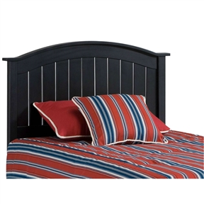 This Twin size Solid Wood Arch Panel Headboard in Black is a really cute kid's headboard designed with a curved top rail that straightens out at the ends to give it a bit of flair. constructed of solid hardwood, it is offered in painted white or black or merlot or honey stained. The design works for both boys and girls, tweens or even grown-ups.. it's a great value with a lot of style.