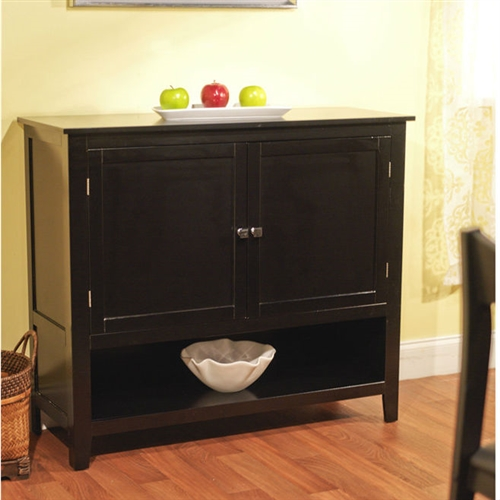 This Black Finish Buffet Sideboard Kitchen Dining Storage Cabinet would be a great addition to your home. It has a black finish and is made of engineered wood. Product Care: Wipe clean with a mild furniture cleaner; Distressed: No; Country of Manufacture: China.