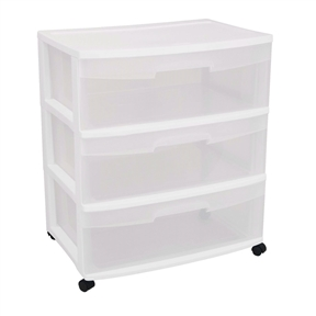 "Mobile 3-Drawer Storage Cart Wardrobe Home Storage Cabinet in Clear White, SWC495153 :  Great for most homes, apartments, garages, or dorm rooms to get extra storage whenever and wherever needed. This Mobile 3-Drawer Storage Cart Wardrobe Home Storage Cabinet in Clear White features provides a three sturdy see-through drawers that allow for easy identification of contents. The design is ideal for use in the laundry room, closet, pantry, office, any where extra storage is needed. Casters are included to create a rolling storage option. Help contain clutter. Drawer Carts can be used in a bathroom to quickly organize items such as towels, bath supplies and more, keeping items easily accessible. This Mobile 3-Drawer Storage Cart Wardrobe Home Storage Cabinet in Clear White is made of durable plastic and can be cleaned with a damp cloth. Dimensions: 15 1/4"" L x 21 7/8"" W x 25 5/8"" H. Clear drawer front design allows for easy identification of contents; Comfortable handles and easy slide-out drawers; Measures 15-1/4 inches long by 21-3/4 wide by 24 inches high without wheels."