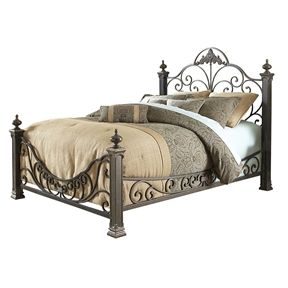 This Queen size Baroque Style Metal Bed with Headboard and Footboard is very florid and ornate. The four inch posts are monstrous especially since they are topped with massive casted finials and sturdy feet. The 66-Inch high headboard grill is adorned with a large 19-Inch center casting and supported by 60-Inch high posts. The footboard - supported by 36-1/2-Inch posts, is a concave design that tips in the center. There are also large sloping side rails that are as fancifully decorated as the grills. Even the Gilded Slate finish is elaborate - it is a back base, with a hand-applied coat of mottled translucent white paint - which gives it a bluish hue, highlighted with gleaming gold. This bed is certainly a statement piece and will need a large room to contain it.