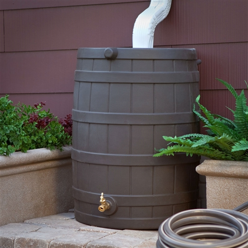 40-Gallon Durable Plastic Resin Rain Barrel in Brown Oak Finish with Spigot, GIRW5189415 :  This 40-Gallon Durable Plastic Resin Rain Barrel in Brown Oak Finish with Spigot conjures water from the sky! It's made of durable resin, has the look of an actual barrel, and comes in a variety of color options. Its brass spigot provides access to the water, its flat back design saves space, and it may be linked to other rain barrels for increased water holding capacity. Flat back design for placement up against the house; High-quality brass spigot; Material Plastic Resin.