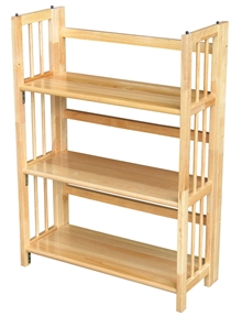 This 3-Shelf Folding Bookcase Storage Shelves in Natural Wood Finish would be a great addition to your home. It has a classic styling and there is no assembly required.
