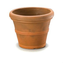 12-inch Diameter Round Planter in Rust color Weather Resistant Poly Resin Plastic, RBPR299151 :  Get the look of classic terra cotta pots without the mess and heartbreak that comes when you break one. This 12-inch Diameter Round Planter in Rust color Weather Resistant Poly Resin Plastic constructed of durable poly resin plastic that is extremely sturdy and lightweight. They won't fade, crack, split, or warp and have a thick rim and classic shape perfect for nearly any plant or small tree. Designed to work for indoor or outdoor plants, these planters are available in your choice of size and color options and even come complete with pre-drilled drainage holes.