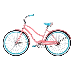 Ladies 26-inch Beach Cruiser Bike in Pink White and Teal Blue, HBCW816984 : You feel that? That's cool, healthy, easy, fun. It's the warm sun on your back, a breeze in your hair, and that nostalgic tingle all over as you forget your worries and simply enjoy the ride on this Ladies 26-inch Beach Cruiser Bike in Pink White and Teal Blue. With its upright riding position and wide, comfortable seat, this smooth-riding cruiser is ready to take you from week to weekend in back again in seriously simple old-school style. Built for relaxed, enjoyable rides, huffy cruisers are the purest expression of fun you can find in an adult bike - no wonder they're America's favorite! Call them beach bikes or retro bikes or whatever you want, cruisers are for folks who just want to ride a bike; to enjoy the outdoors, to connect with family and friends, or just to pick up a gallon of milk. They're real bikes for real people. Easy to ride and maintain, they're at home on a bike path, on the road, on campus, at the beach, and anywhere else that's worth cruising. Since the days of poodle skirts and tail fins, these are the simple pleasures that make you feel like a kid again - and wonder why you ever stopped riding a bike in the first place. With its dreamy lines, vintage styling, and simply perfect gloss crème paint job with floral accents, the good vibrations is a cruiser made for good times; it's easy to stay active and environmentally friendly when you've got such a stunning ride to cruise on. This seriously simple bike was designed with a durable steel frame and fork for lasting lifetime value - you'll love the practicality of the low-maintenance one-speed and coaster-brake drive train, pedaling smooth and sweet across most any surface. The good vibrations' whitewall tires not only lend the bike a retro feel; wider than normal, these tires are less prone to punctures and better absorb shock for an overall more comfortable ride. Wider tires also help to improve stability, rolling over rough terrain with ease and providing greater traction with a greater surface area gripping the ground. Sturdy 38mm steel rims with 12-gauge spokes and 70mm hubs add even greater strength and stability to the wheels, which are both covered by heavy-duty 65mm flared fenders with fitted braces, practical additions that will keep you clean and dry from anything you may be riding through. Bringing more fresh ideas to the places where you'll be touching the bike while on it, the huffy superior touch point package includes a premium embroidered spring saddle with dual density foam padding that looks and feels great, mile after mile - plus, the alloy quick release seat post is easily adjusted for different sized riders without the need for tools. On the swept-back cruiser-style handlebars you'll find custom designed grips made with dual density material for a softer and more comfortable feel for all ten fingers; the large dual density pedals were made with larger platforms and an improved grip surface for extra power transmission that increases pedaling efficiency. The good vibrations' classic cruiser frame is precision crafted with cruzfit geometry for a more natural and tremendously more comfortable ride. Huffy extensively tested a variety of custom designed frame geometries to find the best ride in quality, handling and overall comfort: as it turns out, a small change brings big benefits. Moving the seat post angle back just a bit (by 3 degrees, to be exact) adds room between the saddle and handlebar, increasing the size of the cockpit and supporting a more natural riding position. This simple upgrade to the classic cruiser frame better accommodates riders of all sizes and makes a truly noticeable difference in steering ease, handling and control - not to mention the overall comfort of the ride! The good vibrations cruiser is a step above the rest; in true huffy style, every inch of this bike was designed with you in mind, and the frame comes with a lifetime warranty for peace of mind. This bike is designed to go anywhere you want to take it: just hop on your bike and go, whether you're headed out with friends for a trip down the beach or simply down to the corner store. Recommended for riders over 12 years old. Weight capacity of 200 lbs.