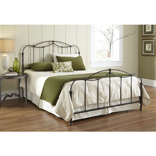 This Queen size Metal Bed Frame with Headboard and Footboard - Boxspring Required marries sloping curves with straight lines to create a soft, yet strong, feel. Constructed of carbon steel for stability and years of everyday use, the 52-inch headboard and 32-inch footboard have straight spindles that are topped with detailed castings. The distinct slope of the top rail features a camelback curve design. The deep color of the Blackened Taupe finish provides a sophisticated, neutral backdrop that will match your personal style and bedroom décor. The engineered bed frame consists of iron rails, cross arms and (6) feet to provide full support to the mattress and box spring (sold separately). A good ornamental (or fashionable) bed will fuse with the surrounding décor, accent your other bedroom furniture and transform a room from ordinary into something interesting and sophisticated. The bed's clean and calming simplistic style will provide that stunning centerpiece needed in your master suite or guestroom. This unit measures 52-inches (H) x 51.5-inches (W) x 85-inches (L), includes a headboard panel, footboard panel, bed frame, instruction sheet, and hardware bag with everything needed for assembly.
