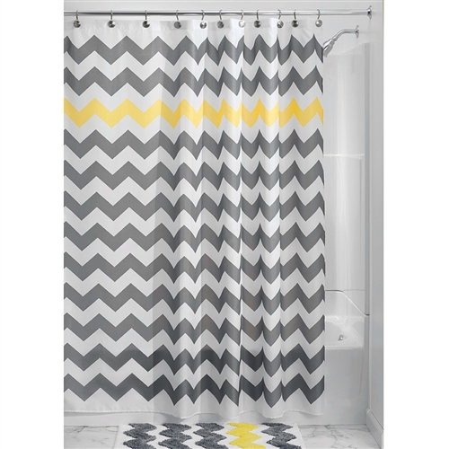 Grey Yellow White Chevron Zig Zag Stripe 72-inch Shower Curtain, VOSC581841511 : This Grey Yellow White Chevron Zig Zag Stripe 72-inch Shower Curtain adds fun and flair to the ever boring bathroom. This retro design features a color pop and is just too stylish to resist. Just toss it in the washing machine; Easy care machine wash; Made of 100% Polyester Fabric; 72-inch by 72-inch.