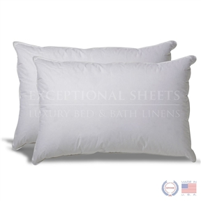 This Set of 2 Hypoallergenic Down Alternative Pillows with 100% Cotton Ticking comes in a 200-thread count, 100% cotton ticking, filled with a hollow, siliconized, polyester cluster fiber. The pillows are non-allergenic, washable, and without exception, the finest pillows of this class anywhere! Most gold label pillows use a continuous filament fiber which flattens out quickly or becomes lumpy when washed. We use a much loftier cluster fiber to make this a soft but long-lasting pillow with an average lifetime of 3-5 years. Their lineup features Egyptian cotton bed sheets, duvet covers and pillow cases as well as other products like mattress toppers, goose down comforters, 5-star Egyptian cotton bath robes and towel sets. Exceptional Sheets mission is to provide customers with the highest quality Egyptian cotton sheet sets and bed linens in addition to top-notch customer service.