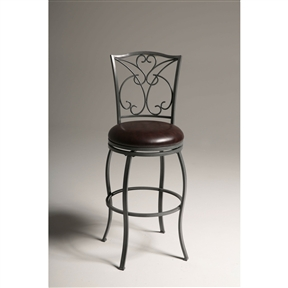 This Grey Metal 30-inch Barstool with Brown Faux Leather Swivel Seat is the height of sophistication, with an elegant ash gray finish and a lush Chocolate faux leather upholstered seat. This stool features both straight lines and gentle curves to give you a first-rate seating option. Seat Style: Round; Seat Color: Chocolate; Distressed: No ; Frame Material: Metal; Seat Material: Faux leather; Seat Back Type: Mission back;  Leg / Base Type: 4 legs; Footrest Included: Yes; Product Care: Wipe with a clean, damp cloth; Country of Manufacture: China; Assembly Required: Yes