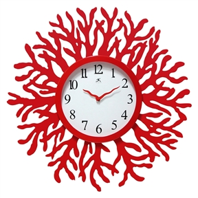 Red Coral Reef Modern Wall Clock Ocean Beach Theme - 22-inch Diameter, RWC103651 :  Creating an undersea wonderland? This Red Coral Reef Modern Wall Clock Ocean Beach Theme - 22-inch Diameter is perfect for an under-the-sea-themed room. Red hands match the red coral frame that's crafted of durable engineered wood. Accurate quartz movement stays on track without your attention. Type Office, Kitchen; Warranty 1 Year; Engineered wood case with red finish; Matching red steel hands; Contemporary styling with flat glass lens.