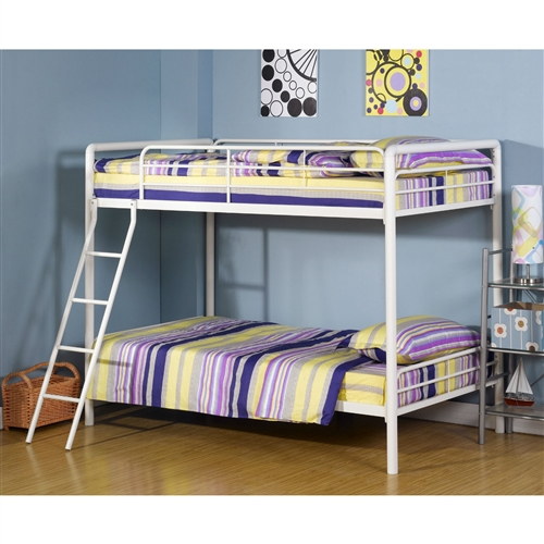 Strong and sturdy, this Twin over Twin Bunk Bed with Ladder in White Metal Finish is designed to last years, whether it's being played on, used in a guest room, or is a bunk for your children. Sleek and modern, this bed has a classic white finish which matches almost any decor. This bunk bed meets ASTM and CPC safety specifications, has a ladder which attaches to the frame for added safety and a guardrail that runs the length of the top bunk. A beautiful addition to any room, you and your kids will love this bunk bed.