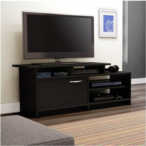 "This 52-inch Modern TV Stand in Black Finish will bring a trendy contemporary look to your living room. It offers both practical easy-access open storage and a closed storage compartment as well. Its neutral and trendy finish will easily blend right in with any decor. 2 Storage compartments separated by 1 adjustable shelf behind the door; Straight lines and striking asymmetry inspired by the trendiest contemporary style; Accommodate LCD et plasma televisions up to 42""."
