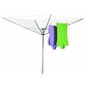 12-Line Outdoor Umbrella Style Laundry and Clothes Dryer, HE12LOUSCD31 :  This 12-Line Outdoor Umbrella Style Laundry and Clothes Dryer has the benefits of air drying clothes are many--fabrics last longer, energy bills run lower, and clothes and sheets naturally smell better when hung outside--not to mention the health benefits of spending a few minutes outdoors in the sunshine. This umbrella-style clothes dryer features 12 vinyl-coated lines that provide 165 feet of linear drying space, and all the drying lines come pre-strung with no assembly required. The unit offers durable construction with aluminum arms, a high-impact plastic post cap and slide, and a two-piece post made from corrosion-resistant galvanized steel. A one-piece plastic ground sleeve anchors the post into the ground, and the arms can be folded down for compact storage when not in use. The clothes dryer measures 73 by 73 by 72 inches.