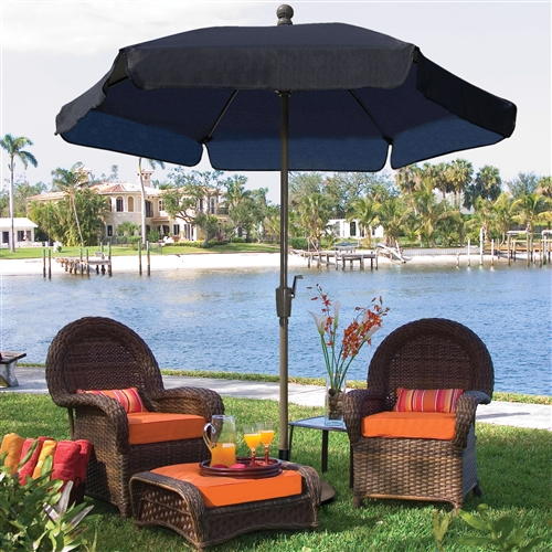 7.5-Ft Patio Umbrella for Outdoor Garden with Tilt Navy Shade and Champagne Pole, WRGU519815 :  No matter how much you spend, it seems like every spring you have to buy a new patio umbrella because yours got caught in the wind, right? Well, you're in luck with this 7.5-Ft Patio Umbrella for Outdoor Garden with Tilt Navy Shade and Champagne Pole. Its flexible fiberglass ribs provide strength and resilience for maximum wind-resistant and it comes complete with a one-year manufacturer's warranty for peace of mind. The canopy comes in your choice of color options and it's made of Textilene for weather-resistance. Choose your favorite aluminum pole color and you have it made in the shade. 1.5-inch powder coated aluminum pole; Easy-to-use crank-lift system; Choose push-button tilt or no tilt; Commercial Grade Yes; Fabric Type Acrylic; Number of Ribs 6; Umbrella Shape Hexagon;  Warranty 5-Yr Limited Manufacturer Warranty against Fading.