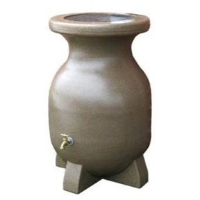 55-Gallon Rain Barrel in Sandstone Finish, K55GSF12617 :  Place this 55-Gallon Rain Barrel in Sandstone Finish out in the open or under a downspout to catch rain and runoff for later use. A convincing sandstone finish makes this bombproof rain barrel nearly as tough as stone; and combines the elegance of authentic stone with the enduring longevity UV resistant plastic. The barrel is manufactured using a rotational molding process and is able to withstand extreme temperatures, years of sun, and cold. A corrosion-proof brass spigot is elevated just enough for filling watering cans, and features a threaded opening for attaching garden and soaker hoses. A drain plug means easy cleaning when fine debris builds up in the bottom. Thick legged base ensures optimal balance for stability on level ground.  Screen guard keeps leaves and debris out of barrel.