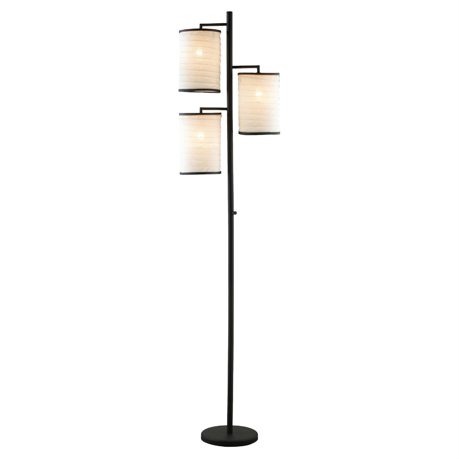 Modern Japanese Style 3-Light Tree Floor Lamp with Cotton Shades, ABFL762913 :  Add artistic Japanese style and flare to any room with this Modern Japanese Style 3-Light Tree Floor Lamp with Cotton Shades. It has an antique bronze finish and white cotton lantern shades.  3-Way turn switch on pole; Antique bronze finish; 3 Lanterns, 60 Watts each;  Style: Modern; Base Finish: Chrome; Shade Color: White; Distressed: Yes; Powder Coated Finish: Yes; Material: Metal; Material Details: Stainless steel; Bulb Type: Incandescent; Bulb Included: No