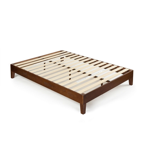 This Twin size Solid Wood Platform Bed Frame in Espresso Finish is beautifully simple and works well with any style of home décor. The 5.75 inch frame and legs are made of rubber wood to support your memory foam, latex, or spring mattress. The Twin size Solid Wood Platform Bed Frame in Espresso Finish is 12 inches high and designed for use with or without a box spring foundation. stylish and strong support for your mattress at an affordable price.