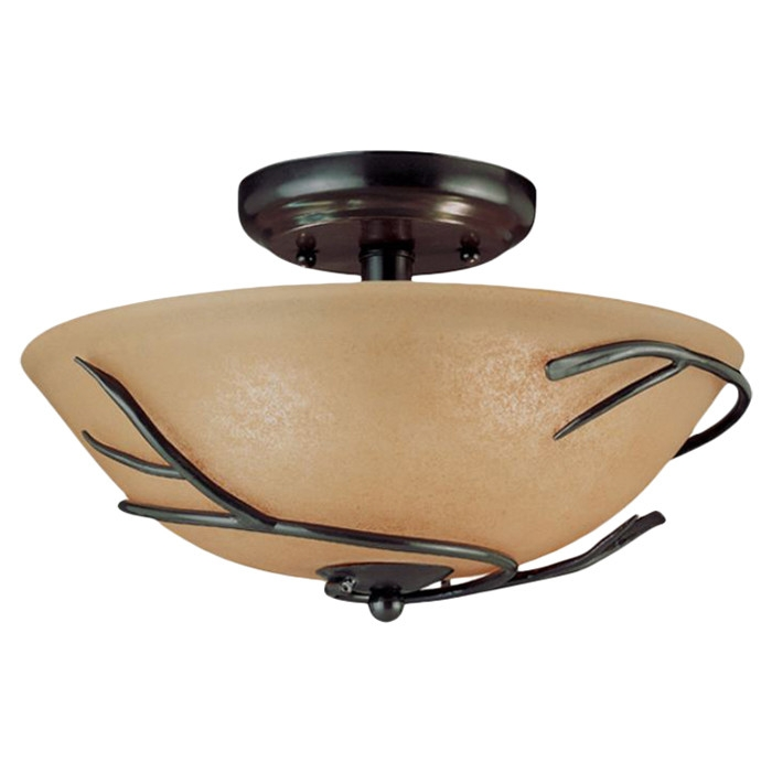"This Round 12-inch Semi Flush Mount Ceiling Light with Twig Accent would be a great addition to your home. Handcrafted in an age old metal working process. Beautiful glass nestles in natural iron thorny vines. Can be mounted to the ceiling or converted into a ceiling fan lighting kit; Installation: Dry locations; Shade Shape: Bowl; Finish: Bronze. Bulb Type: Incandescent; Style: Traditional; Connection: Hardwired; Sloped Ceiling: Yes; Light Direction: Downlight; Product Care: Dust with a dry cloth; Number of Lights (8""H, 12"" Diameter Size): 3; Wattage per Bulb (8""H, 12"" Diameter Size): 60; Damp, Dry or Wet Location Listed: Dry; UL Listed: Yes; cUL Listed: Yes; Energy Star Compliant: No; Voltage: 120V."