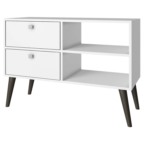 If you're looking for a TV stand that's both fresh and functional, look no further than this White Grey Wood Modern Classic Mid-Century Style TV Stand Entertainment Center. With splayed legs and square drawer pulls reminiscent of Scandinavian design, this TV stand offers ample storage with its two drawers and two open-back shelves. Crafted of high-quality medium-density particleboard in your choice of two-tone finish. Eye-catching square hardware design; Accommodates flat-screen TVs up to 35 inches wide; Feature Enclosed Storage, Open Shelving; Material Melamine, Medium-Density Particleboard, Solid Wood / Veneer.