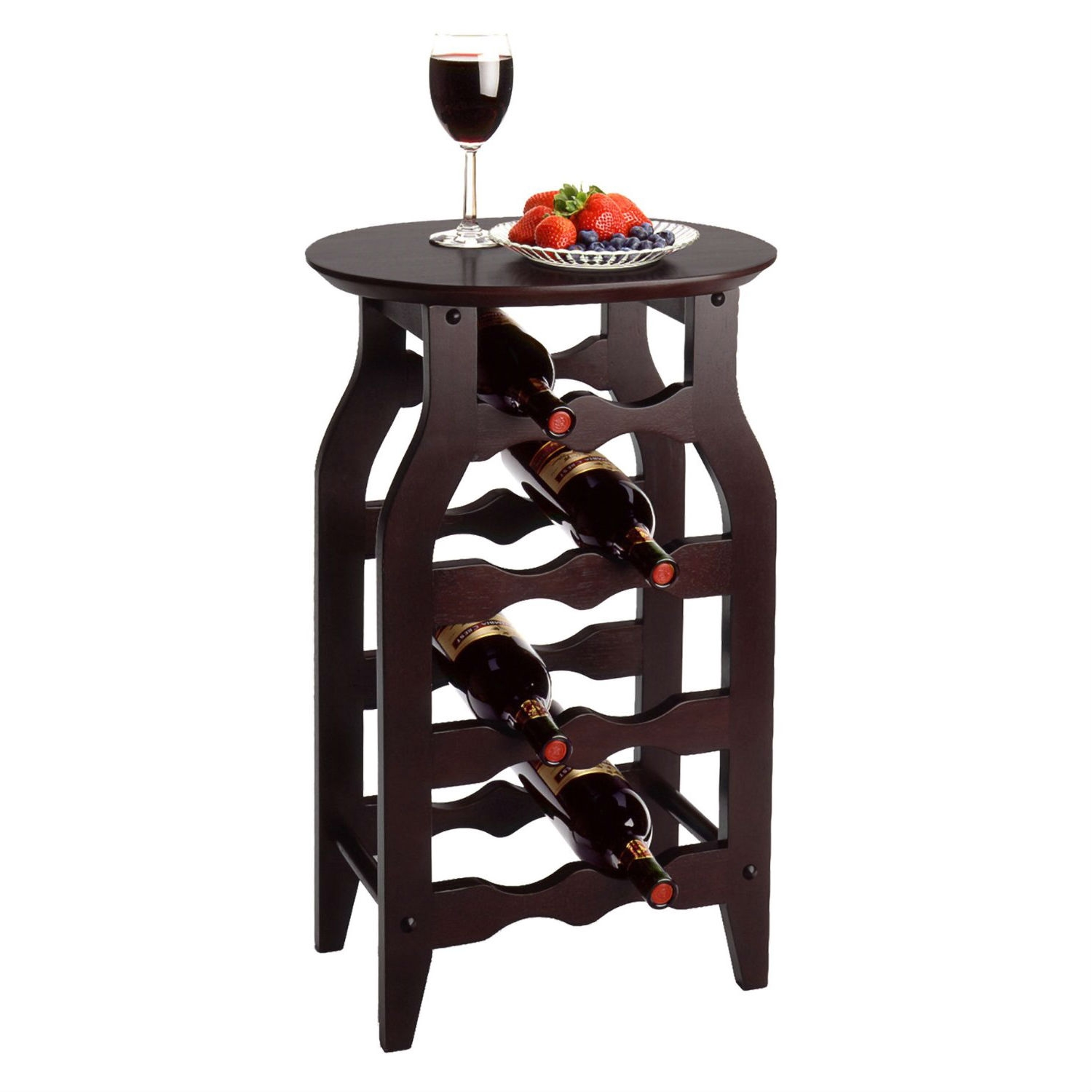 This 8-Bottle Oval Wine Rack Side Table in Espresso is perfect for use in any room.Espresso finish combine with solid wood to bring function and style together in this small wine rack.