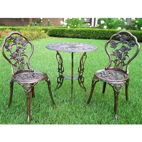 3-Piece Outdoor Bistro Set with Rose Design in Antique Bronze Finish, OL3PB13103 :  This 3-Piece Outdoor Bistro Set with Rose Design in Antique Bronze Finish is perfect for flower lovers. Each piece is adorned with several roses in full bloom. The attractive flowers will add beauty and style to any outdoor patio garden setting. It is perfect for any small space or to accent a larger space. Powder coated finish; Fade, chip and crack resistant; Assembly Required: Yes; Product Warranty: 1 Year warranty; Table Frame Material: Iron; Chair Frame Material: Iron; Aluminum Finish: Antique Bronze; Style: Contemporary; Number of Items Included: 3; Weather Resistant; UV Resistant: Yes; Rust Resistant: Yes; Umbrella Hole: Yes; Table Shape: Round; Rocker: Yes; Seating Capacity: 2; Cushions Included: Yes.