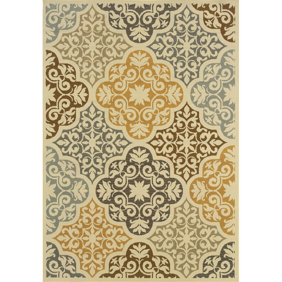 3'7 x 5'6 Indoor Outdoor Area Rug in Ivory Grey Yellow Blue Floral Damask, IGFR49512 :  This 3'7 x 5'6 Indoor Outdoor Area Rug in Ivory Grey Yellow Blue Floral Damask would be a great addition to your home. It is made by a woven technique and is made of 100% polypropylene material. Use indoor or outdoor; Construction: Machine made; Technique: Machine woven; Primary Pattern: Floral and plants; Oriental; Primary Color: Ivory; Grey; Material: Synthetic; Outdoor Use: Yes; Country of Manufacture: Egypt.